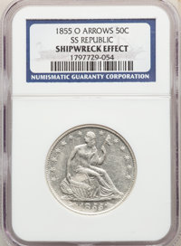 Five-Piece Lot of Seated Half Dollars, S.S. Republic -- Shipwreck Effect -- NGC. The lot includes: 1855-O S.S