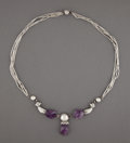 Jewelry, A William Spratling Silver and Amethyst Necklace, Taxco, Mexico, circa 1950 . Marks: SPRATLING MADE IN MEXICO, SPRATLING S...