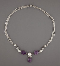 A William Spratling Silver and Amethyst Necklace, Taxco, Mexico, circa 1950 Marks: SPRATLING MADE IN MEXICO, S