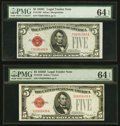 Fr. 1528 $5 1928C Legal Tender Note. PMG Choice Uncirculated 64 EPQ; Fr. 1529 $5 1928D Legal Tender Note. PMG Choice Unc...