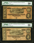 T68 $10 1864 Two Examples PMG Very Fine 30