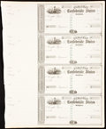 Confederate Notes:Group Lots, Treasury of the Confederate States Customs Warrants Uncut Sheet of Four 186_ Extremely Fine-About Uncirculated.. ...