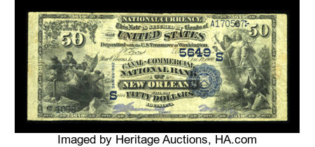 New Orleans, LA - $50 1882 Value Back Fr. 586 Canal-Commercial NB Ch. # (S)5649 ...