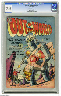 Out of This World #1 (Avon, 1950) CGC VF- 7.5 Off-white pages. Gene Fawcette robot cover. Features art by Joe Kubert. Cr...