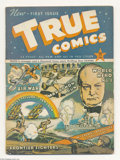 Golden Age (1938-1955):Non-Fiction, True Comics #1 (True, 1941) Condition: GD+. Marathon run story. Thelife story of Winston Churchill. Three inch spine split ...