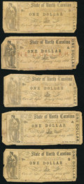 Raleigh, NC- State of North Carolina $1 Oct. 12, 1861; Oct. 13, 1861 (2); Oct. 16, 1861; Oct. 20, 1861 Very Good or Bett...