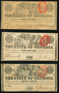Obsoletes By State:Georgia, Milledgeville, GA- State of Georgia $5 Jan. 15, 1862; 25¢ (2); 50¢ Jan. 1, 1863; $5; $10 (2) Apr. 6, 1864 Very Good or Bet... (Total: 7 notes)