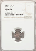 Three Cent Silver: , 1861 3CS MS66+ NGC. NGC Census: (72/34 and 1/0+). PCGS Population: (101/36 and 2/2+). CDN: $950 Whsle. Bid for NGC/PCGS MS6...