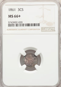 1861 3CS MS66+ NGC. NGC Census: (72/34 and 1/0+). PCGS Population: (101/36 and 2/2+). CDN: $950 Whsle. Bid for NGC/PCGS...