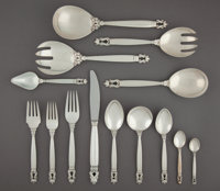A One Hundred-Fourteen-Piece Georg Jensen Acorn Pattern Silver Partial Flatware Service for ... (Total: 114)