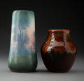 Ceramics & Porcelain, Two Rookwood Ceramic Vases, circa 1910. Marks to tallest: (R-fourteen flames), XX, 2066, V, (artist monogram). 8 inches ... (Total: 2 Items)