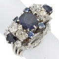 Estate Jewelry:Rings, Sapphire, Diamond, Platinum, White Gold Ring, French . ...