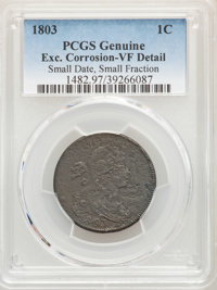 1803 1C Small Date, Small Fraction -- Excessive Corrosion -- PCGS Genuine. VF Details. Mintage 3,131,691....(PCGS# 1482)