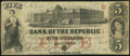 Obsoletes By State:Rhode Island, Providence, RI- Bank of the Republic $5 Nov. 3, 1855 Very Good-Fine.. ...