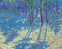 James Busby (American, 20th Century) Blue Wooded Landscape Acrylic on canvas 21-1/4 x 27-3/8 inch