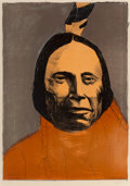 Works on Paper, Leonard Baskin (American, 1922-2000). Red Cloud, Sioux, 1974. Offset lithograph in colors on paper. 34 x 24 inches (86.4...