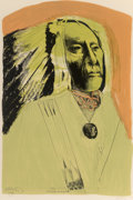 Works on Paper, Leonard Baskin (American, 1922-2000). High Bear, 1973. Lithograph in colors on paper. 36-1/4 x 24 inches (92.1 x 61.0 cm...