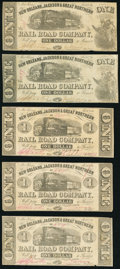 Obsoletes By State:Louisiana, New Orleans, LA- New Orleans, Jackson & Great Northern Rail Road Company $1 Nov. 16, 1861, Five Examples Fine or Better.... (Total: 5 notes)