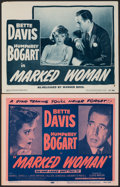 """Movie Posters:Crime, Marked Woman (Warner Bros./Dominant Pictures, R-1947/R-1956). Very Fine-. Lobby Card & Title Lobby Card (11"""" X 14""""). Crime.... (Total: 2 Items)"""
