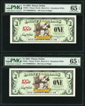 Disney Dollars Disney World $1 2002 Rodgers R-80 Two Consecutive Examples PMG Gem Uncirculated 65 EPQ. ... (Total: 2 not...