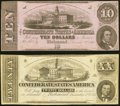 Confederate Notes:1862 Issues, T51 $20 1862 Fine-Very Fine;. T52 $10 1862 Very Fine-Extremely Fine.. ... (Total: 2 notes)