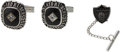 Football Collectibles:Others, 1967 Oakland Raiders Super Bowl II Cuff Links and Tie Tack....