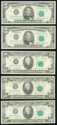 Full Face to Back Offset Errors. Fr. 1977-B $5 1981A Federal Reserve Notes. Two Consecutive Examples. Choice Crisp Uncir...