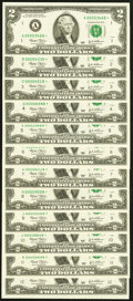 Complete District Set Single Star Note Fr. 1937-A*-L* $2 2003 Federal Reserve Star Notes. Choice Crisp Uncirculated or B...