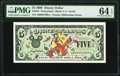 Disney Dollars Disneyland $5 2000 Rodgers R-66 PMG Choice Uncirculated 64 EPQ