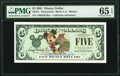 Disney Dollars Disneyland $5 2001 Rodgers R-72 PMG Gem Uncirculated 65 EPQ
