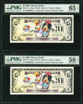 Disney Dollars Disney World $1 2009 Rodgers R-156 Two Consecutive Examples PMG Gem Uncirculated 65 EPQ; Choice About Unc...