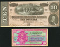 Confederate Notes:1864 Issues, T68 $10 1864 Choice About Uncirculated;. Series 521 10¢ Military Payment Certificate Five-Very Fine.. ... (Total: 2 notes)