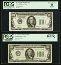 Small Size:Federal Reserve Notes, Fr. 2152-B; D $100 1934 Dark Green Seal Federal Reserve Notes. PCGS Graded Apparent Extremely Fine 45; About New 50PPQ.. ... (Total: 2 notes)