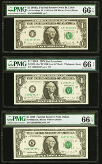 Back Plate 129 Error Fr. 1912-H $1 1981A Federal Reserve Note. PMG Gem Uncirculated 66 EPQ; Face Plate 106 Error Fr. 191...