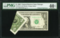 Printed Foldover Error Fr. 1913-G $1 1985 Federal Reserve Note. PMG Extremely Fine 40 EPQ