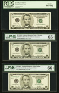 $5 Federal Reserve Notes. Fr. 1986-E* 1999 PCGS Gem New 66PPQ; Fr. 1987-G* 1999 PMG Gem Uncircula