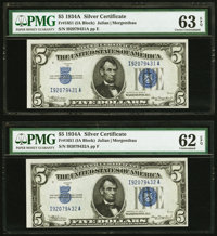 Fr. 1651 $5 1934A Silver Certificates. Two Consecutive Examples. PMG Graded Choice Uncirculated 63 EPQ; Uncirculated 62...
