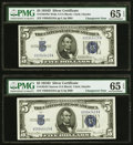 Changeover Pair Fr. 1654 Wide I/ 1654 Narrow $5 1934D/1934D Silver Certificates. PMG Gem Uncirculated 65 EPQ