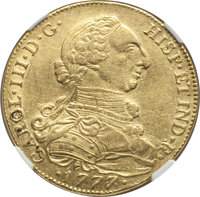 Colombia: Charles III gold 8 Escudos 1777/6 NR-JJ AU Details (Scratches) NGC