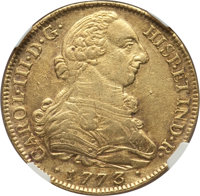 Colombia: Charles III gold 8 Escudos 1773 P-JS AU Details (Scratches) NGC