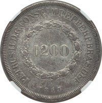 Brazil: Pedro II 1200 Reis 1843 AU Details (Surface Hairlines) NGC