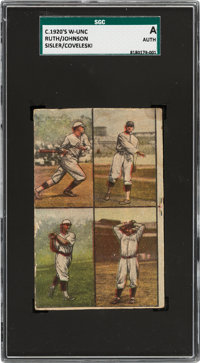 1920's W-Unc Universal Toy Ruth/Johnson/Sisler/Coveleski SGC Authentic - Ruth Photo from the 1918 Red Sox