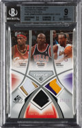 Basketball Cards:Singles (1980-Now), 2005-06 SP Game Used Authentic Patches Triple LeBron James/Jordan/Bryant 05/10 #AF3P-JJB, BGS Mint 9....
