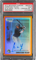 Baseball Cards:Singles (1970-Now), 2010 Bowman Chrome Draft Prospect Autograph Orange Refractor Christian Yelich 05/25 #BDPP78, PSA Mint 9....