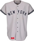 """Baseball Collectibles:Uniforms, 1975 Jim """"Catfish"""" Hunter Game Worn & Signed New York Yankees Jersey, MEARS A10...."""