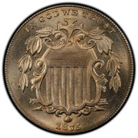 1875 5C MS65 PCGS. PCGS Population: (33/15 and 1/2+). NGC Census: (25/7 and 0/0+). CDN: $1,050 Whsle. Bid for NGC/PCGS M...