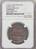 Counterstamps, (1856-59) Counterstamp Yankee Robinson, R-MO-CI-180, -- Obverse Scratched -- NGC Details. VF. Struck on 1854 Seat Half Dolla...