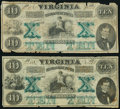 Obsoletes By State:Virginia, Richmond, VA- Virginia Treasury Note $10 Oct. 15, 1862 Cr. 9 Two Examples Good or Better.. ... (Total: 2 notes)