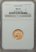 Indian Quarter Eagles: , 1925-D $2 1/2 MS63 NGC. NGC Census: (4774/4715). PCGS Population: (3910/3461). CDN: $345 Whsle. Bid for NGC/PCGS MS63...