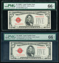 Fr. 1530 $5 1928E Legal Tender Note. PMG Gem Uncirculated 66 EPQ; Fr. 1531 $5 1928F Wide I Legal Tender Note. PMG Gem Un...